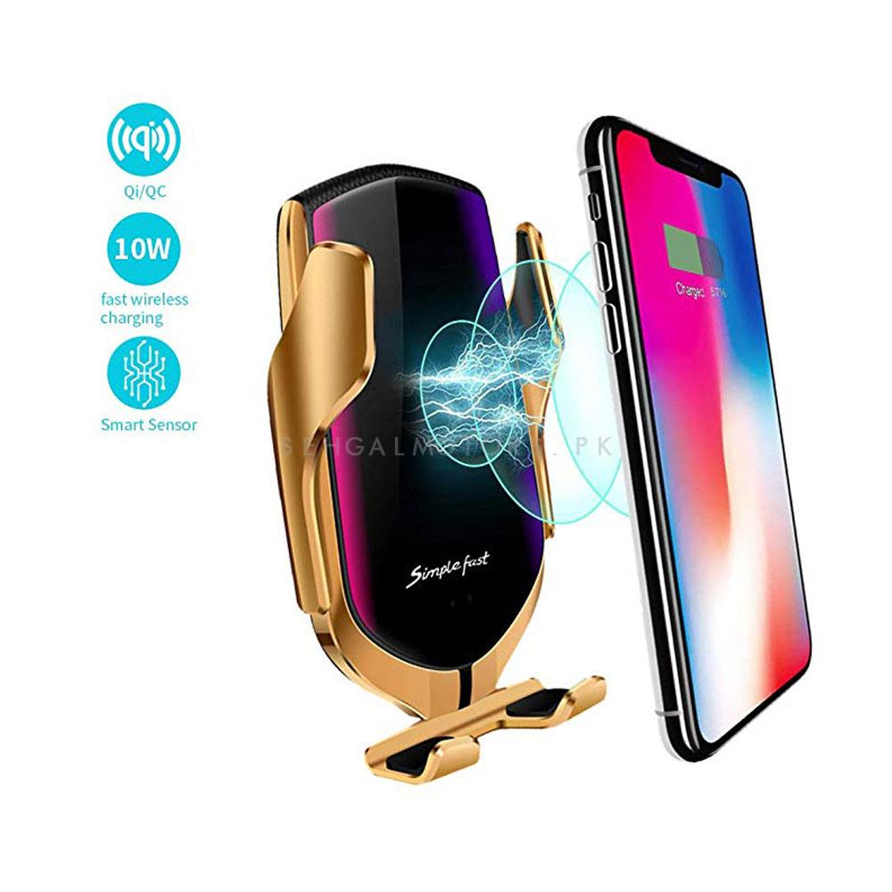 Automatic Sensor Qi Wireless Fast Mobile Charger Car Mount Phone Holder - Golden-SehgalMotors.Pk