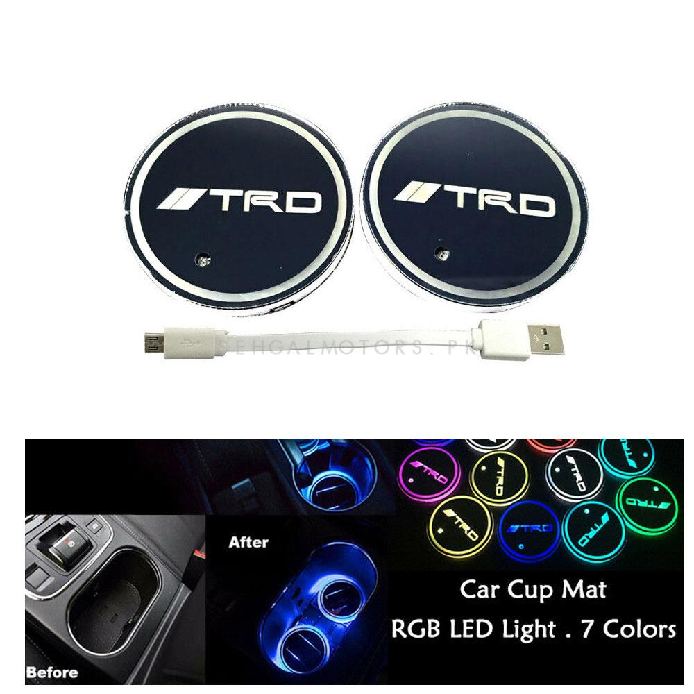 TRD RGB LED Car Cup Holder Plate - 1 piece-SehgalMotors.Pk