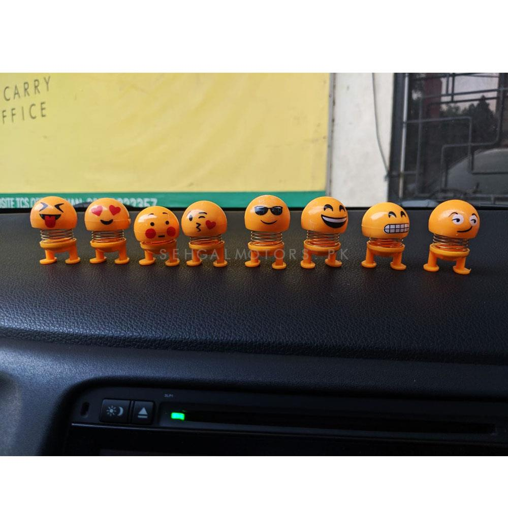 Mini Bouncing Car Dashboard Smiley Emoji Emoticon Toy Mix Design- Pack of 6-SehgalMotors.Pk