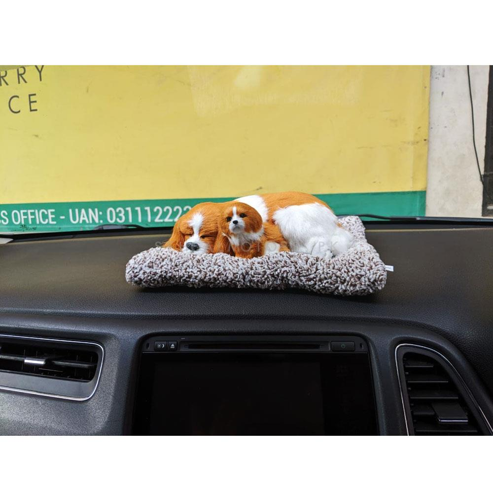Car Cute Sleeping Dog Puppy Dashboard Decoration - Multi-SehgalMotors.Pk