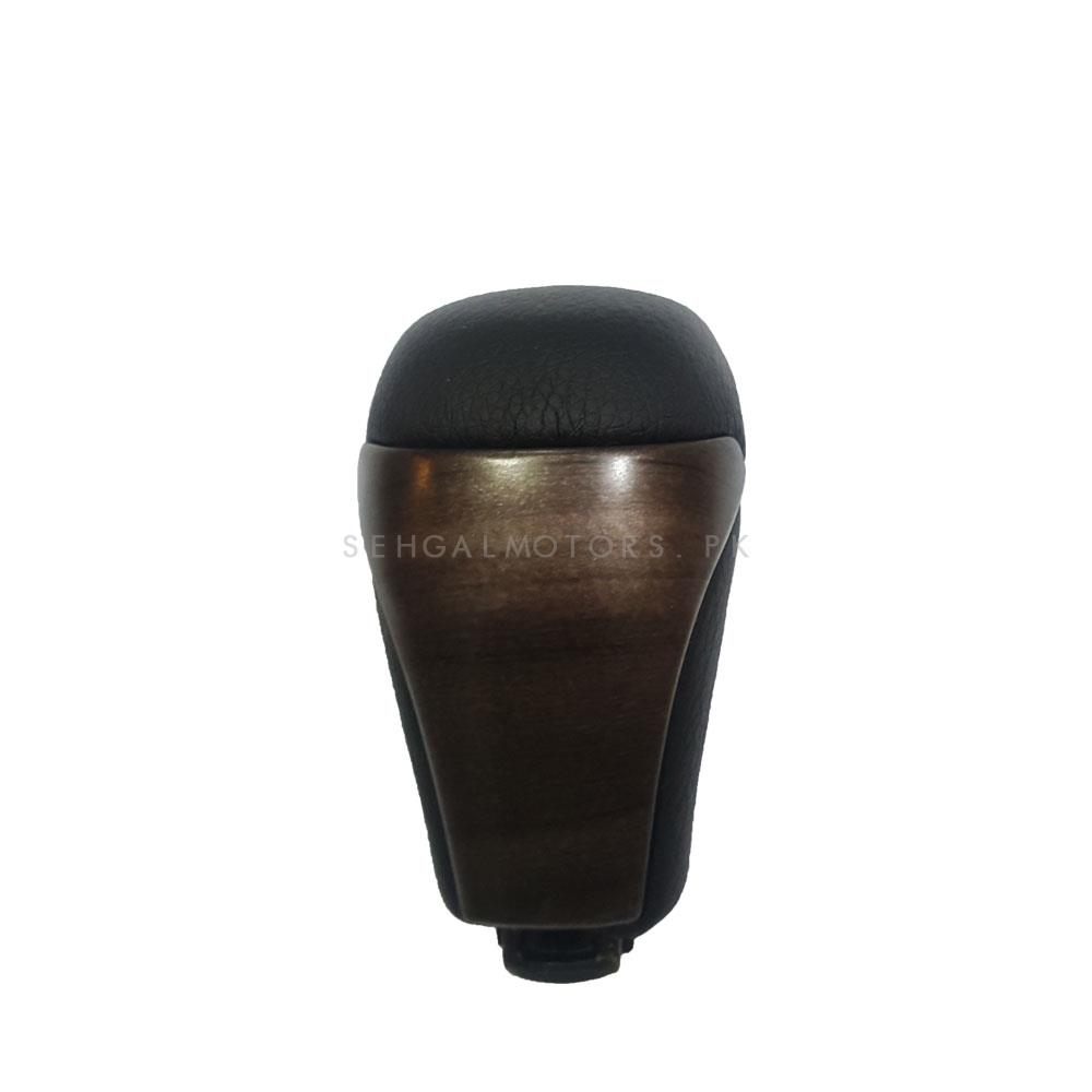 Toyota Land Cruiser Leather Wooden Finished Gear Knob - Model 2015-2018-SehgalMotors.Pk