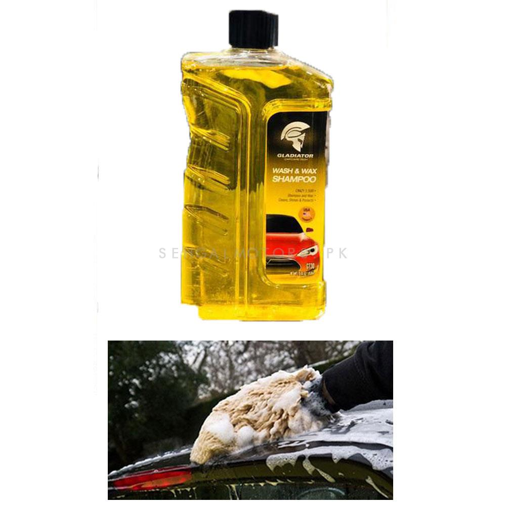 Gladiator Car Wash And Wax Shampoo    Car Shampoo   Car Cleaning Agent   Car Care Product   2 in 1 Product   Glossy Touch Shampoo   Mirror Like Shine-SehgalMotors.Pk