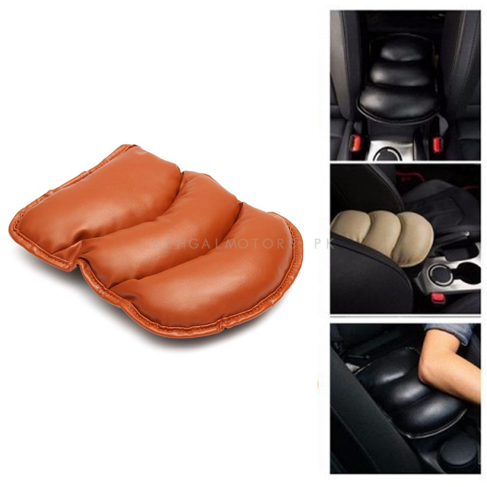 Universal Arm Rest PU Cushion - Brown | Car Armrest Cushion Pad | Car Seat Cover Auto Center Arm Rest Console Box Protective Mat-SehgalMotors.Pk
