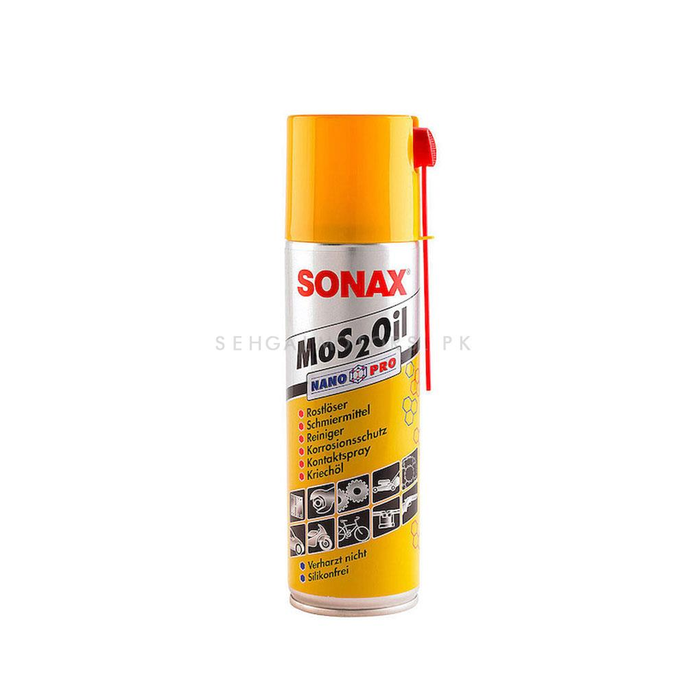 Sonax Lubricant MoS2 Oil NanoPro - 300ml  | Powerful All Purpose Rust Cleaner Spray | Derusting Spray Car Maintenance | Household Cleaning Tools Anti Rust Lubricant-SehgalMotors.Pk