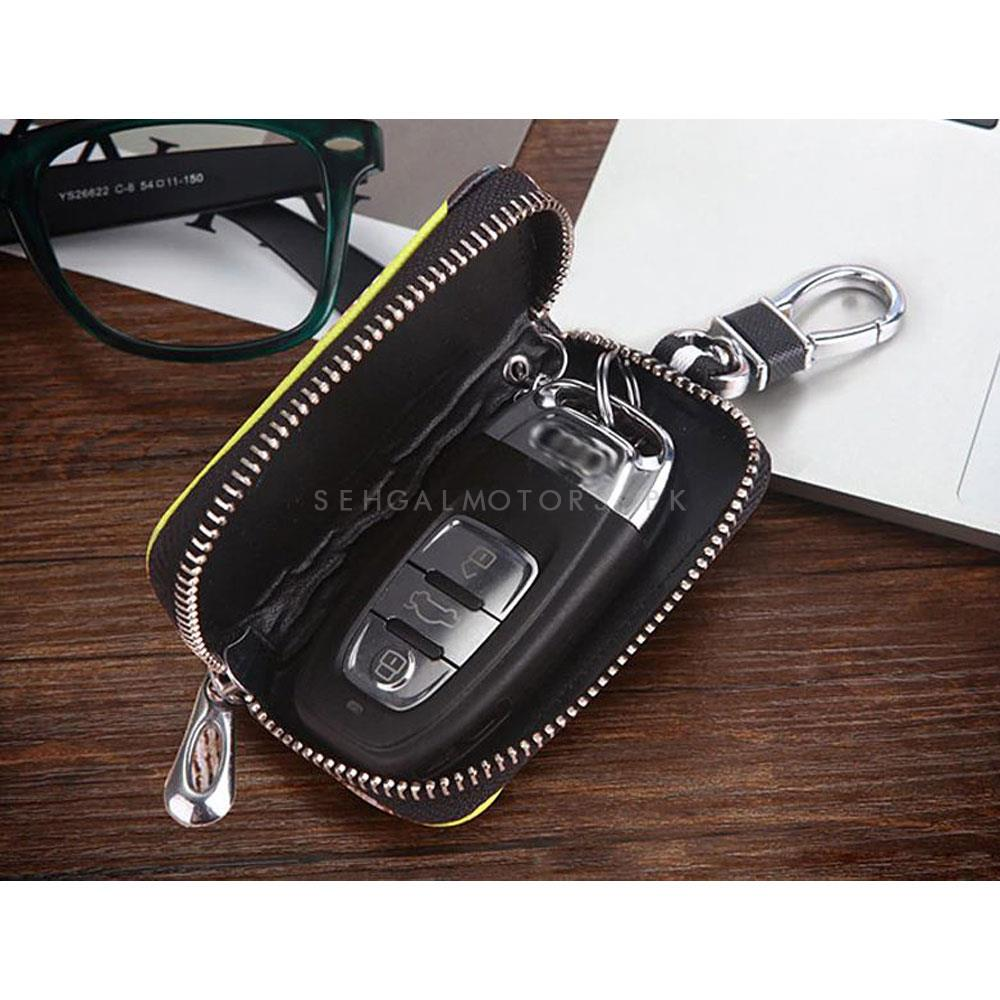 Dragon Zipper Matte Leather Key Cover Pouch Black with Keychain Ring-SehgalMotors.Pk