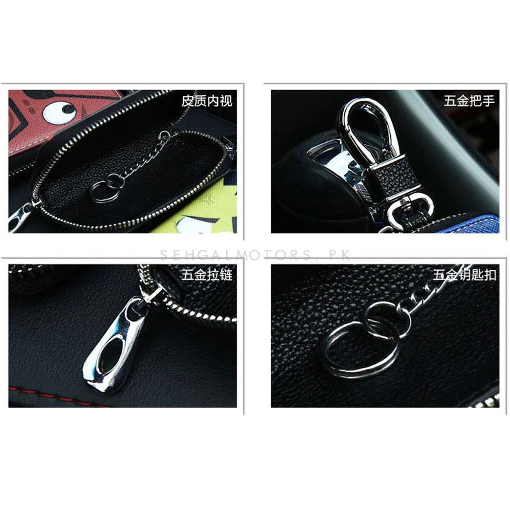 TRD Power Glossy Zipper Leather Key Cover Black-SehgalMotors.Pk