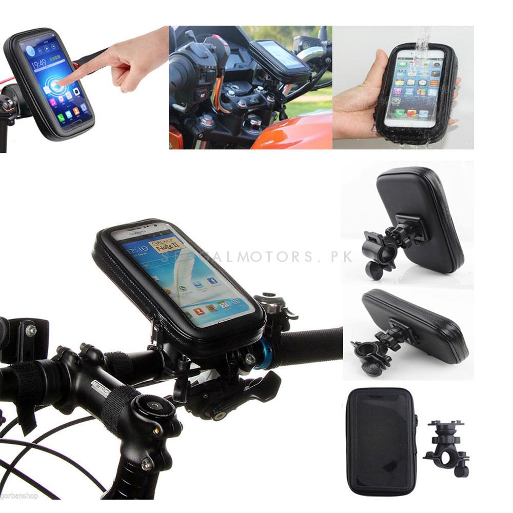 Universal Motorcycle Bike Bicycle Handlebar Mobile Holder With Cover For Protection From Rain-SehgalMotors.Pk