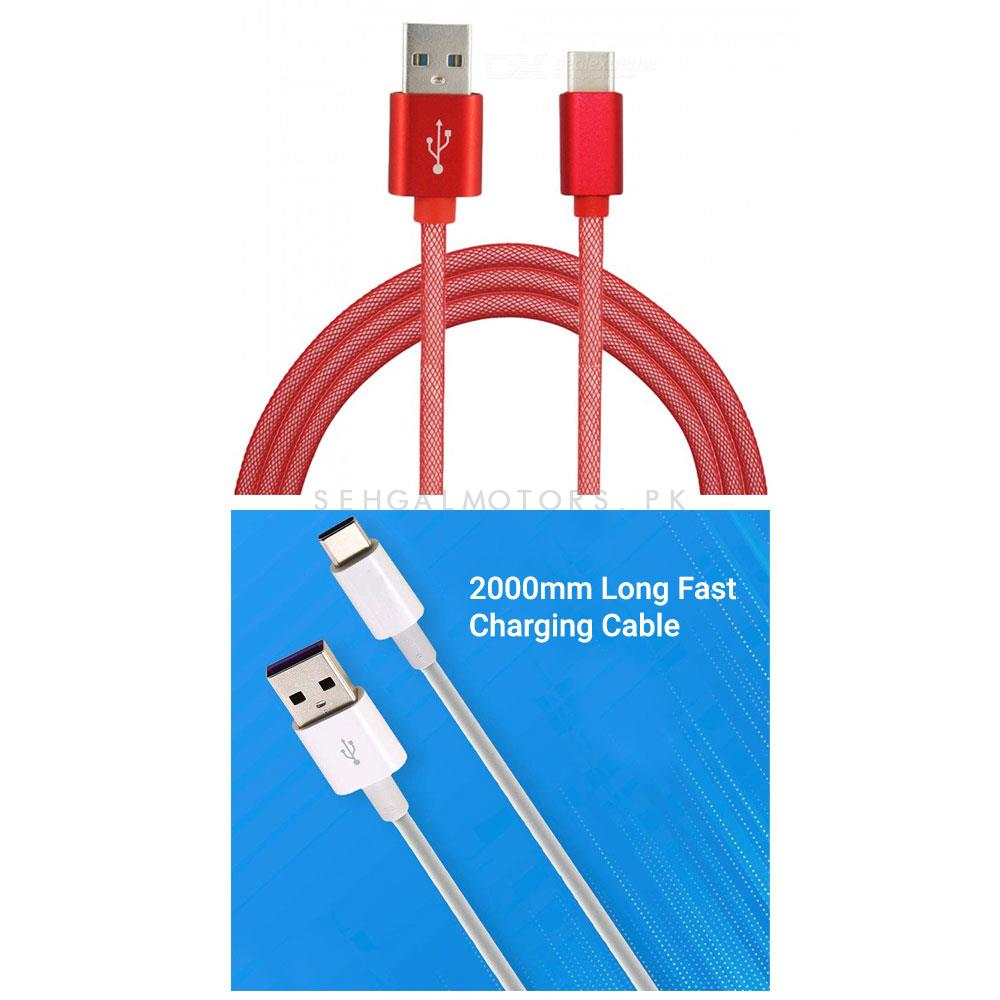 High Speed Type C Quick Charge USB Cable 3.6A with 2000mm -SehgalMotors.Pk