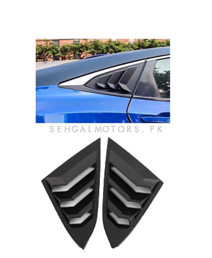 Honda Civic Carbon Fiber Quarter Glass Rack Lamborghini Style Louver Vents Pair- Model 2016-2021 (100302766)-SehgalMotors.Pk