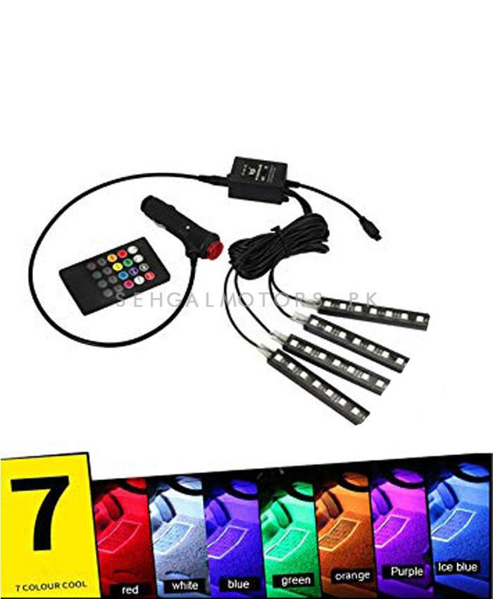 Car Atmosphere Ambient Multi Color Light With Remote For Interior - 7 Color-SehgalMotors.Pk