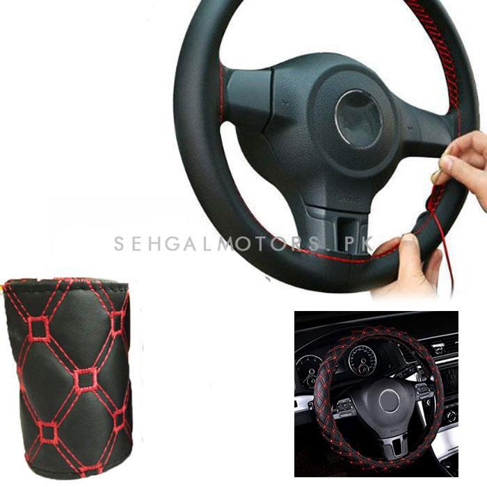 Universal 7D Steering Cover Black With Red Stitch | Car Steering Wheel Cover | Auto Steering Wheel Cover | Anti Slip Wheel Cover | Non Slip Wheel Cover-SehgalMotors.Pk
