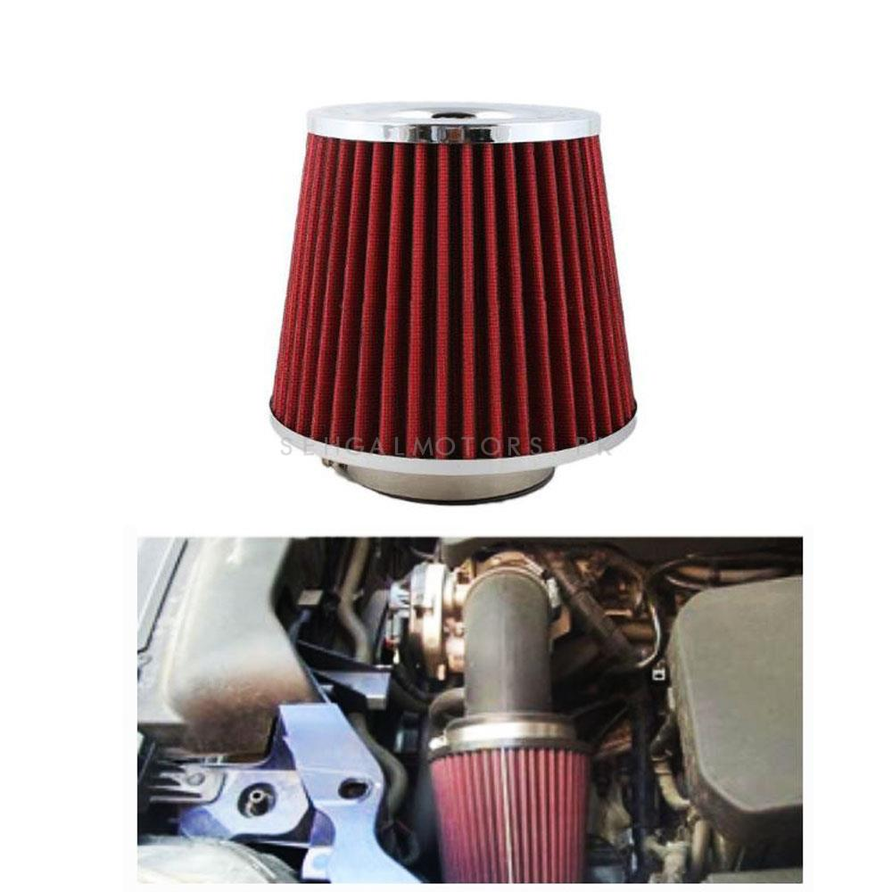 Simota Cold Air Intake Filter Red - Universal  | Universal Car Air Filter Vehicle Induction High Power Mesh | Auto Cold Air Hood Intake-SehgalMotors.Pk