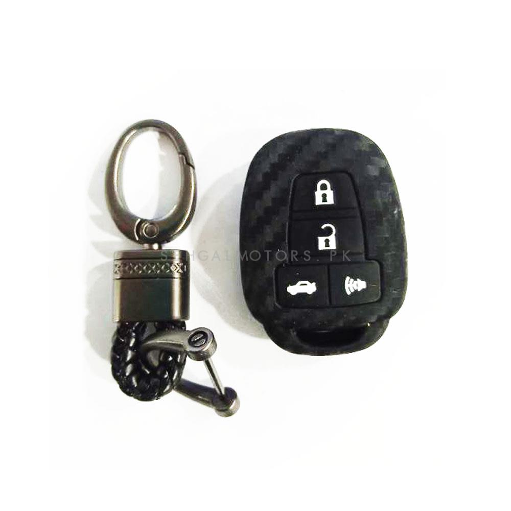 Toyota Corolla Carbon Fiber Key Cover 4 Buttons With Premium Leather Rosary Random Design Key Chain - Model 2017-2020-SehgalMotors.Pk