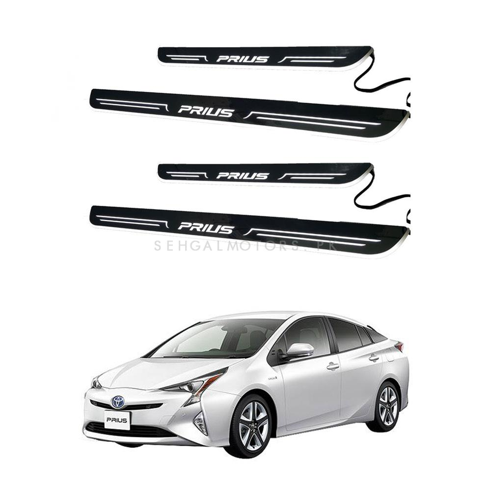 Toyota Prius Glass LED Sill Plates / Skuff LED panels Cold White - Model 2017-2019-SehgalMotors.Pk