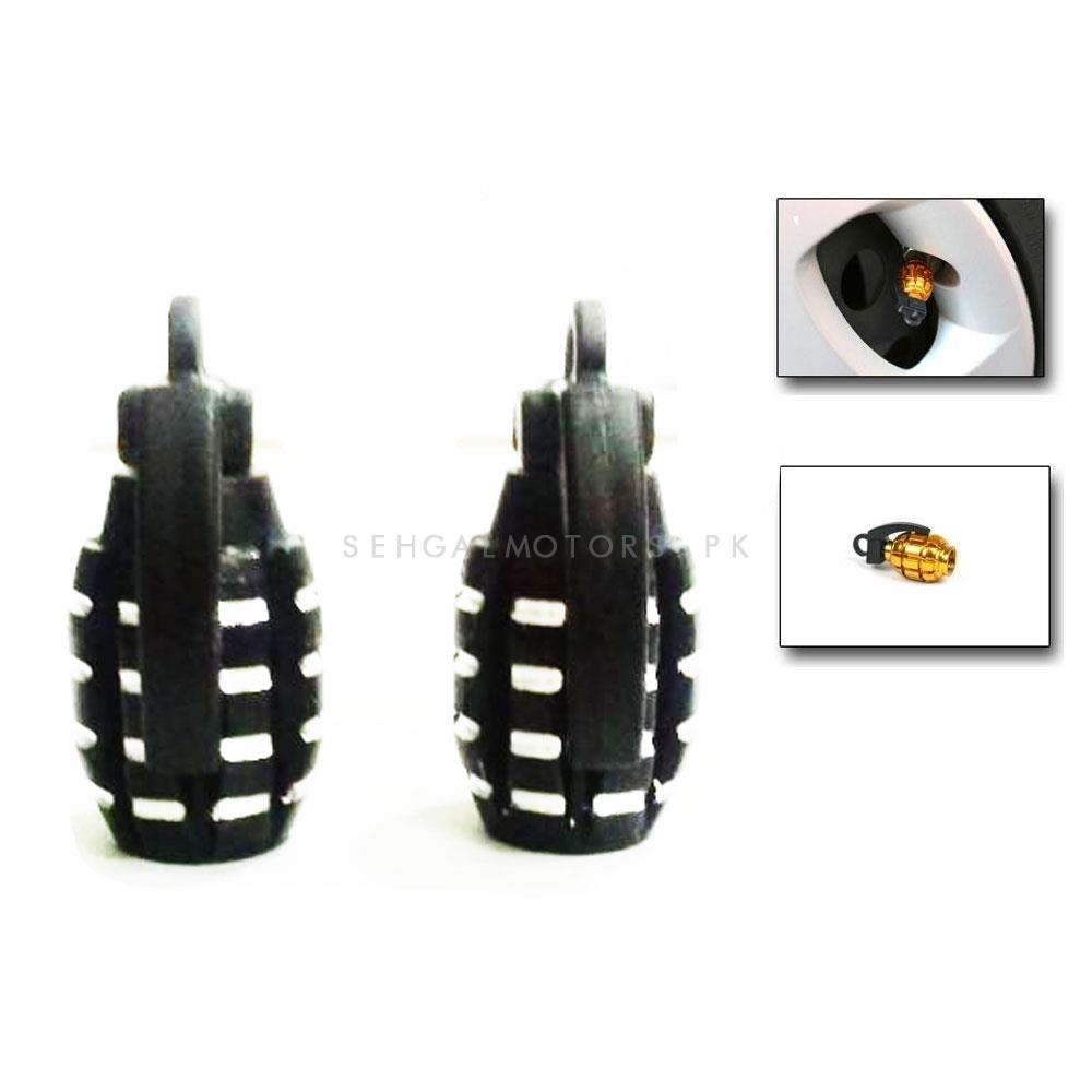 Grenade Tire / Tyre Air Valve Nozzle Caps - Black 2 PC    High Quality Aluminum Tyre Valve Caps   Wheel Tire Covered Protector Dust Cover-SehgalMotors.Pk