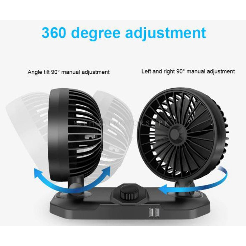 Rotatable Dual Speed Car Electric Fan   Car Double Fan for Dashboard   Universal Dual Fan With USB Port-SehgalMotors.Pk