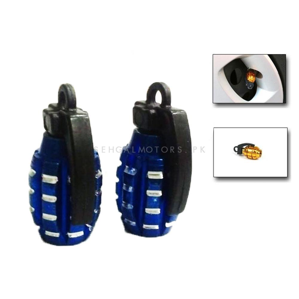Grenade Tire / Tyre Air Valve Nozzle Caps - Blue 2 PC   High Quality Aluminum Tyre Valve Caps   Wheel Tire Covered Protector Dust Cover-SehgalMotors.Pk