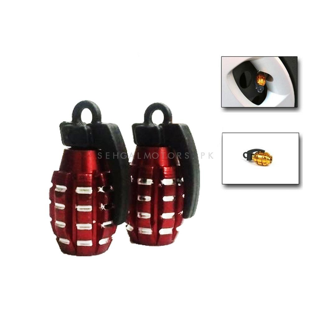 Grenade Tire / Tyre Air Valve Nozzle Caps - Red 2 PC   High Quality Aluminum Tyre Valve Caps   Wheel Tire Covered Protector Dust Cover-SehgalMotors.Pk