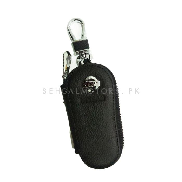 Nissan Zipper Matte Leather Key Cover Pouch Black with Keychain Ring-SehgalMotors.Pk