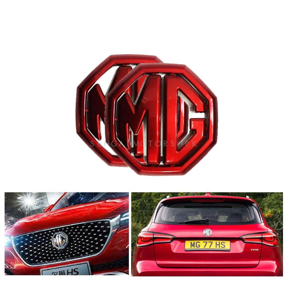 MG ZS Front and Rear Monogram Red 2PC - Model 2020-2021-SehgalMotors.Pk