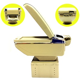 Universal Arm Rest 6 USB Beige Chrome-SehgalMotors.Pk