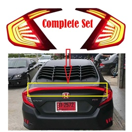Honda Civic Back Lamps Black Smoke with Complete LED Spoiler - Model 2016-2017