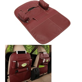 Back Seat Organizer Leather Maroon Color-SehgalMotors.Pk
