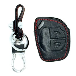 Suzuki Cultus Key Cover Leather 2 Button with Key Chain / Key Ring - Model 2017-2019
