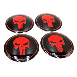Skull Wheel Cap Logo Red Black Color - 4 Pieces | Wheel Center Cap | Wheel Logo | Wheel Center Hub Caps | Wheel Dust Proof Covers Badge logo-SehgalMotors.Pk