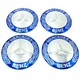 Mercedes Benz Wheel Cap Logo Blue Color - 4 Pieces-SehgalMotors.Pk