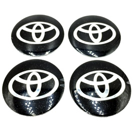 Toyota Wheel Cap Logo Black - 4 Pieces | Wheel Center Cap | Wheel Logo | Wheel Center Hub Caps | Wheel Dust Proof Covers Badge logo-SehgalMotors.Pk