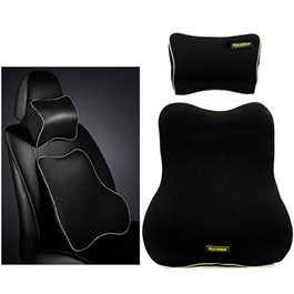 Maximus Car Back Rest Cushion with Neck Rest Pillow Black| Memory Foam Lumbar Support Back Massager Waist Cushion Pillow For Chairs in the Car Seat Pillows Home Office Relieve Pain | Car Seat Headrest Memory Cotton Soft Breathable Pillow Neck Support Cushion-SehgalMotors.Pk