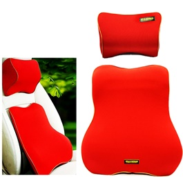 Maximus Car Back Rest Cushion with Neck Rest Pillow Red | Memory Foam Lumbar Support Back Massager Waist Cushion Pillow For Chairs in the Car Seat Pillows Home Office Relieve Pain | Car Seat Headrest Memory Cotton Soft Breathable Pillow Neck Support Cushion-SehgalMotors.Pk