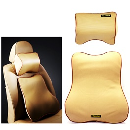 Maximus Car Back Rest Cushion with Neck Rest Pillow Beige-SehgalMotors.Pk