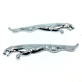 Jaguar Metal Monogram Chrome pair
