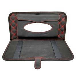 Car Sun Visor Tissue Box Black Red stitched Large  | Tissue Holder | Modern Paper Case Box | Napkin Container Tray | Towel Visor Tissue Box-SehgalMotors.Pk