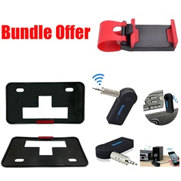 Bundle Offer Number Plate Frame,Bluetooth Aux,Steering Mobile Holder Red-SehgalMotors.Pk