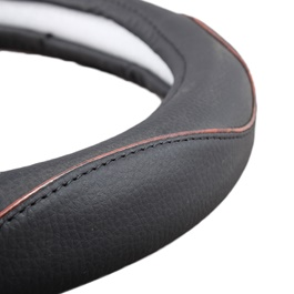 Black Leather with Wooden Lining Steering Cover-SehgalMotors.Pk