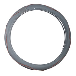 Grey Leather with Wooden Lining Steering Cover-SehgalMotors.Pk