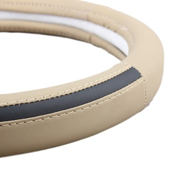 Leather Grey and Beige Steering Cover-SehgalMotors.Pk