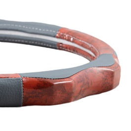 Grey and Red Wooden Steering Cover-SehgalMotors.Pk