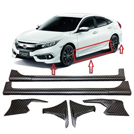 Honda Civic Carbon Fiber Modulo Body Kit / Bodykit 6PCS ABS Plastic - Model 2016-2019 X-SehgalMotors.Pk