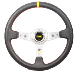 OMP Steering Wheel Black Silver-SehgalMotors.Pk