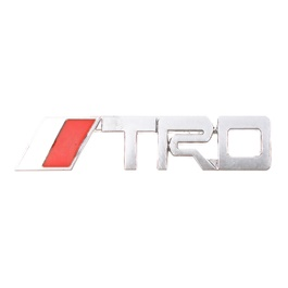 TRD Silver Metal Logo Red Chrome - Each
