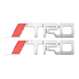 TRD Silver Metal Logo Red Chrome - Each-SehgalMotors.Pk