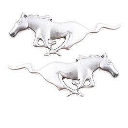 Mustang Metal Logo Chrome - Pair