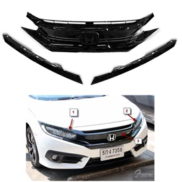 Honda Civic Turbo Grille Piano Black 3 Pieces - Model 2016-2017-SehgalMotors.Pk