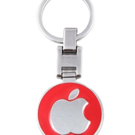 Apple Logo Metal Keychain Red