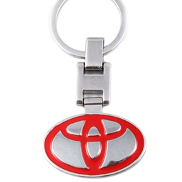 Toyota Logo Key Chain / Key Ring Red Chrome-SehgalMotors.Pk