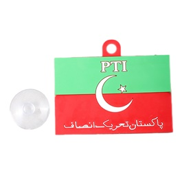PTI Flag PVC Hanging Tag for Windshield Red Green-SehgalMotors.Pk